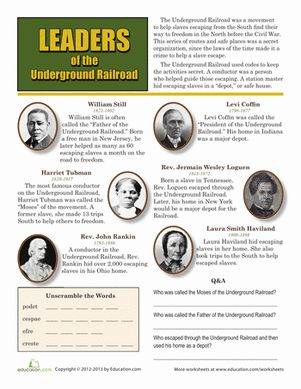 Leaders of the Underground Railroad Worksheet SOTW 4 - Chapter 5 HO Modern Lesson 7