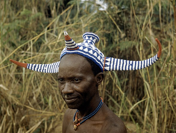 Africa | Pende chief wearing traditional bicorn headdress ... Traditional African Fashion Headdress