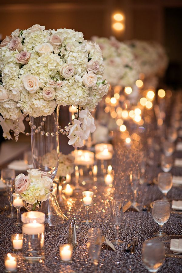 Champagne Table Wedding Pink Decorations And