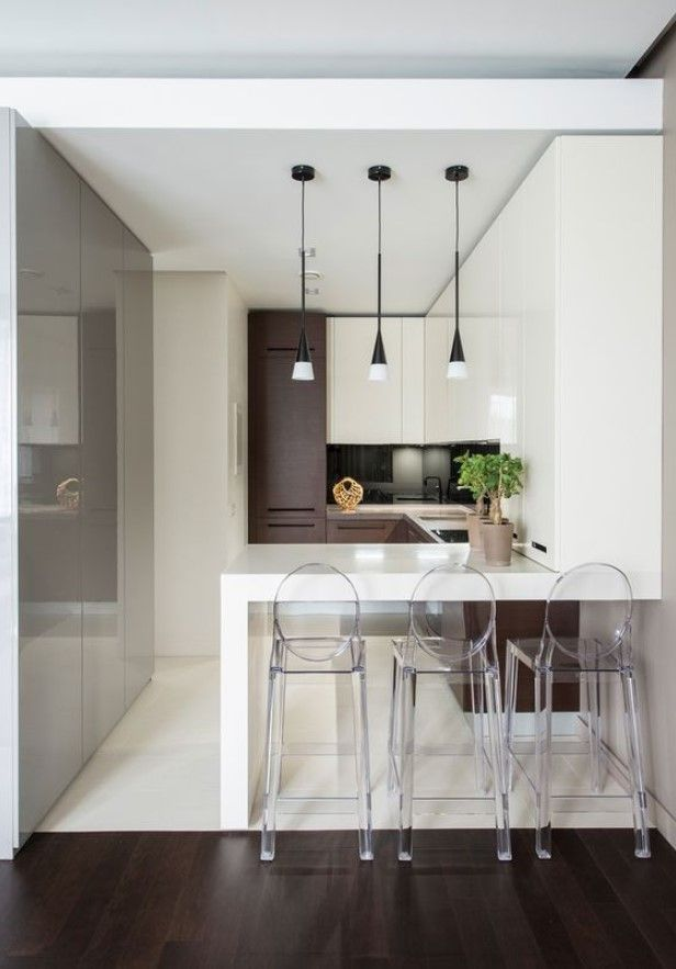 Best Creative Small Kitchen Design And Organization Ideas With Transparent Bar Stools In 2020 Modern Kitchen Design Minimalist Kitchen Design White Modern Kitchen