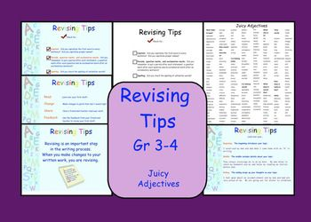 This is a Smartboard lesson on Revising.  This file contains 6 pages.Pg 1  Introduction Pg 2  Revising TipsPg 3  Examples of Beginning, Middle, EndingPg 4  Revising ChecklistPg 5  Student copy of Revising Checklist (I include a copy in each          students writing folder)Pg 6  Juicy Adjectives word list (I include a copy in each          student's writing folder)This file is also available as a Power Point Presentation
