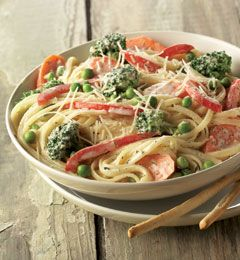 Pasta Primavera ... Yum! I used low fat sour cream instead of heavy cream, and margarine for butter. I had a left over sausage, so cut it up and threw it in too!