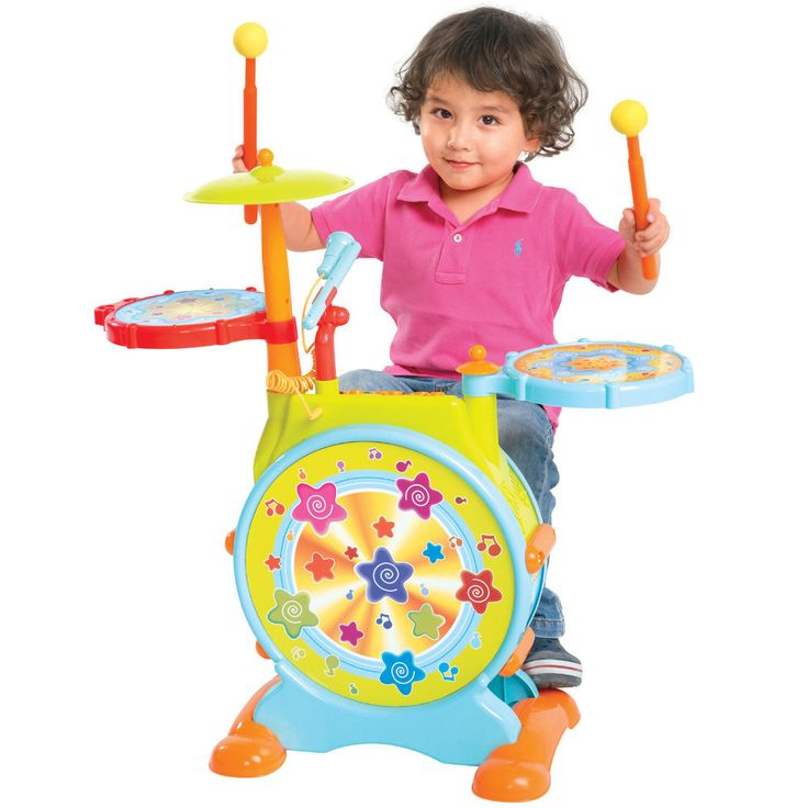 Kids Electronic Toy Drum Set with Adjustable Sing-along Microphone and Stool #BestChoiceProducts