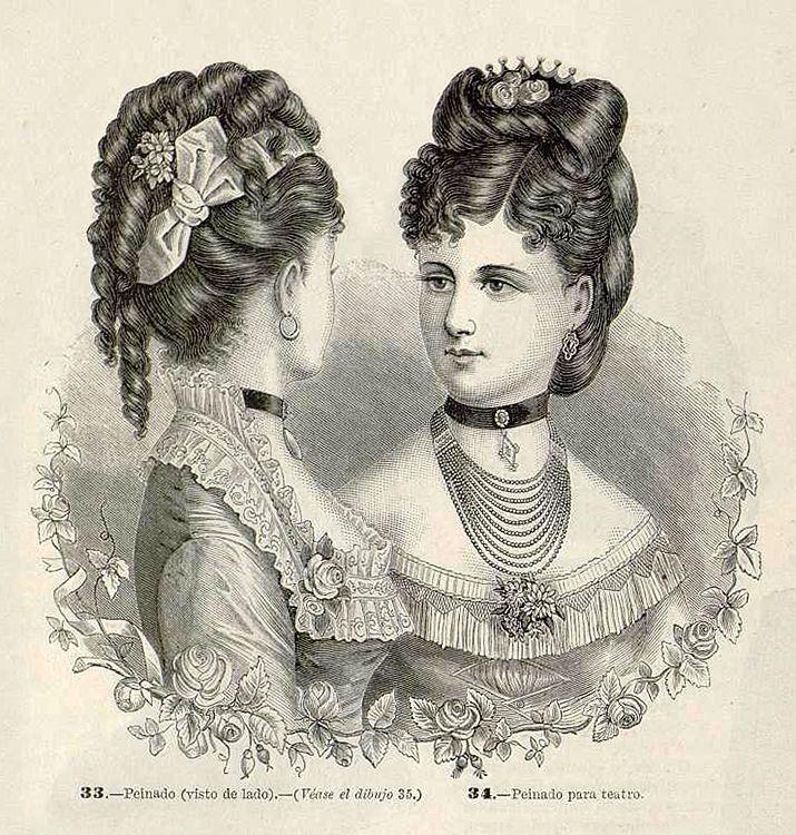 1877. La Moda Elegante Ilustrada. Peinados