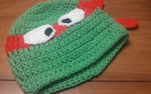 Hand Crocheted Teenage Mutant Ninja Turtles Beanie TMNT Photo Prop