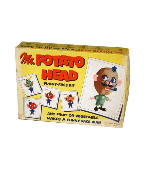 Mr. Potato Head: This famous spud was the first toy to be advertised on television. From 1952 to 1963 parents had to provide their kids with actual potatoes to use as Mr. Potato Head's body. Hasbro began manufacturing the plastic potato body that currently comes in the box in 1964.