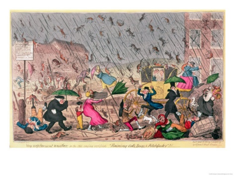 """George Cruikshank. """"Very unpleasant weather, or the old saying verified """"Raining Cats, Dogs & Pitchforks."""" Pitchforks??"""