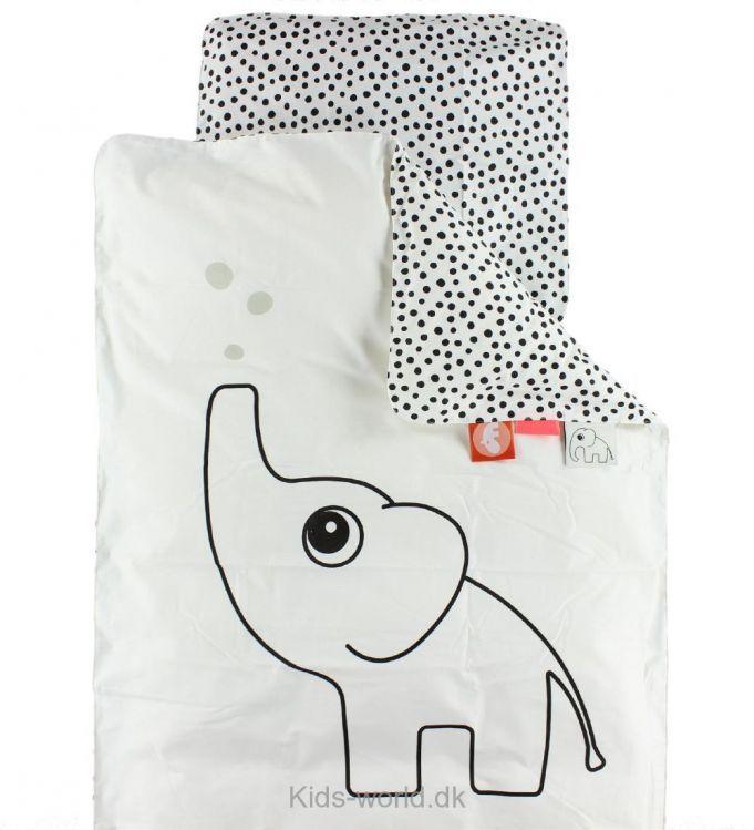 Done By Deer Sengetøj - Baby - Hvid m. Elefant