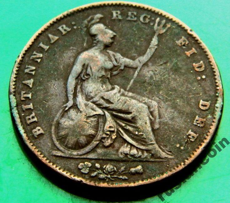 Крупный Пенни Виктория 1858 Британия Дева England Penny Victoria