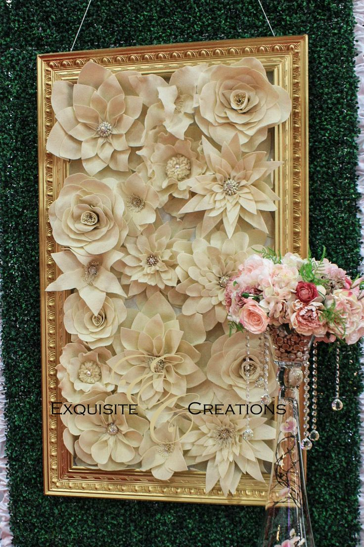 Flower wall within gold frame