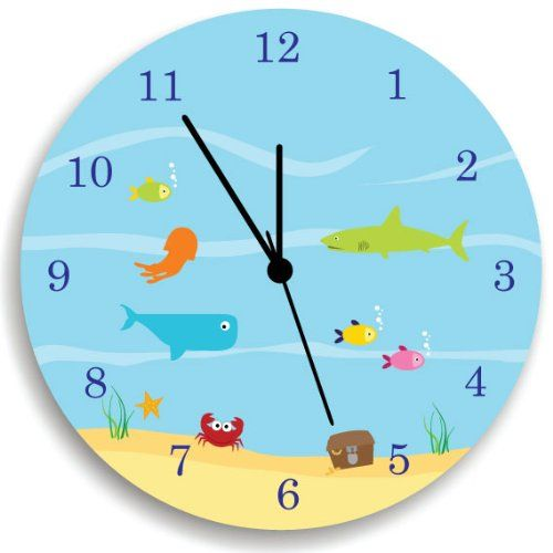 "Life Under the Sea WALL CLOCK, Kids Wall Clock, Ocean theme Children Room Decor. Nursery Wall Clock, Giving a new atmosphere to any nursery! Measurements approximately 10.62"" Diameter and 0.14"" high The printed is adhered to the wood, This quality print come with brilliant laminated. The edges are painted dark color in order to make the perfect ending to the wall clock. Our kid-friendly wall clocks are for indoor use only. All wall clocks can be clean with a soft dry cloth. The clock..."