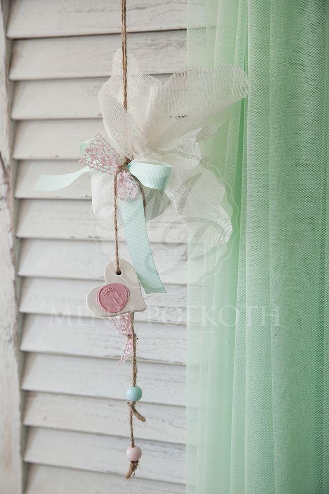 Μπομπονιέρα βάπτισης κρεμαστή με πήλινη καρδιά