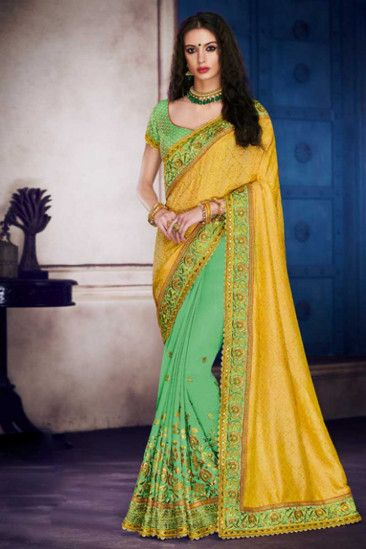 c6aa832f0f Yellow and Green Satin and Silk Saree With Dupion Blouse - DMV15892 ...