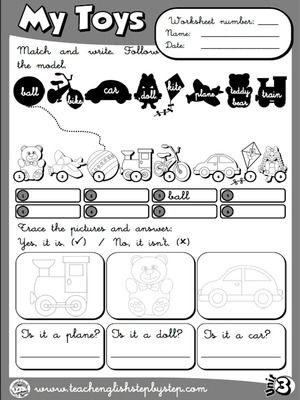 My Toys - Worksheet 6 (B&W version)