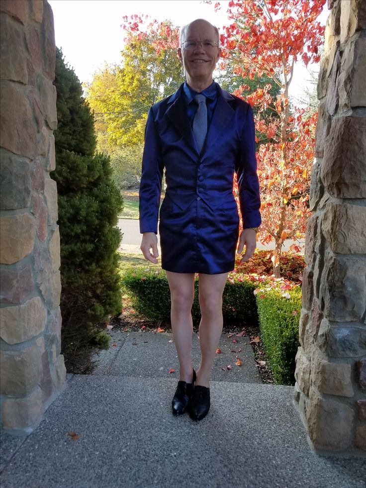 Blue silk skirt suit, blue satin silk shirt, blue and white checked tie, nude Donna Karen nylons, black oxford heeled shoes. Wore to work 10/30/17.