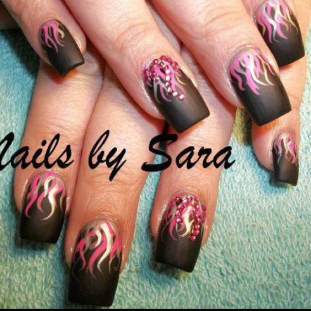 Black Matte Nails With Pink & Silver Flames