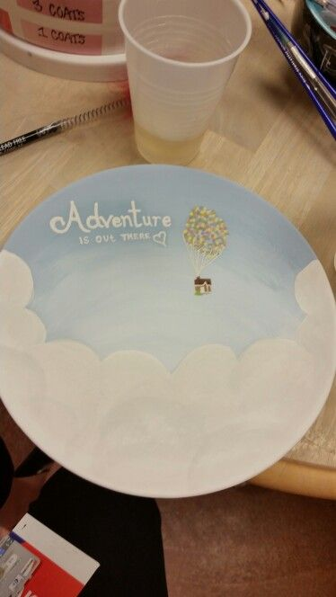 Adventure is out there! Quote from disney/pixar Up! Pottery plate disney design with ombre sky background :) (love the clouds)