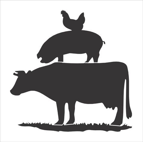 Cow Pig Chicken Stencil Farm Animals Stencil Stacked