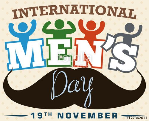 Festive Design with Boys and Mustache Celebrating International Men's Day