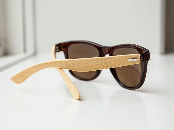 Brown Frame Bamboo Sunglasses  Wooden Sunglasses for by InkedPanda