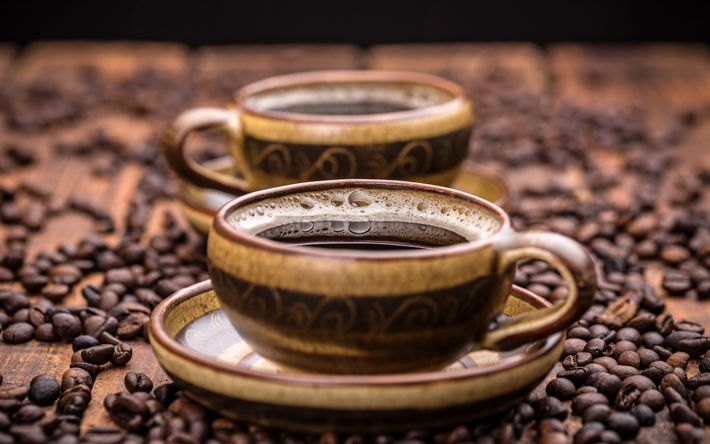 Download wallpapers cup of coffee, coffee beans, morning, fragrant coffee