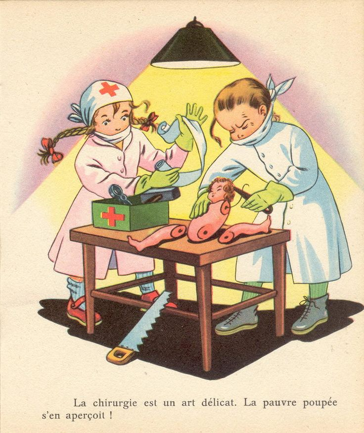 French child surgeons repairing (?) a doll.