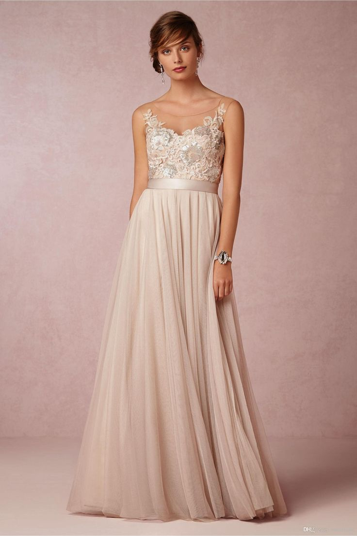 Vintage Champagne 2016 Bridesmaid Dresses Sheer Scoop Neck Maid Of Honor Dresses A Line Floor Length Tulle Sequins Long Evening Formal Prom