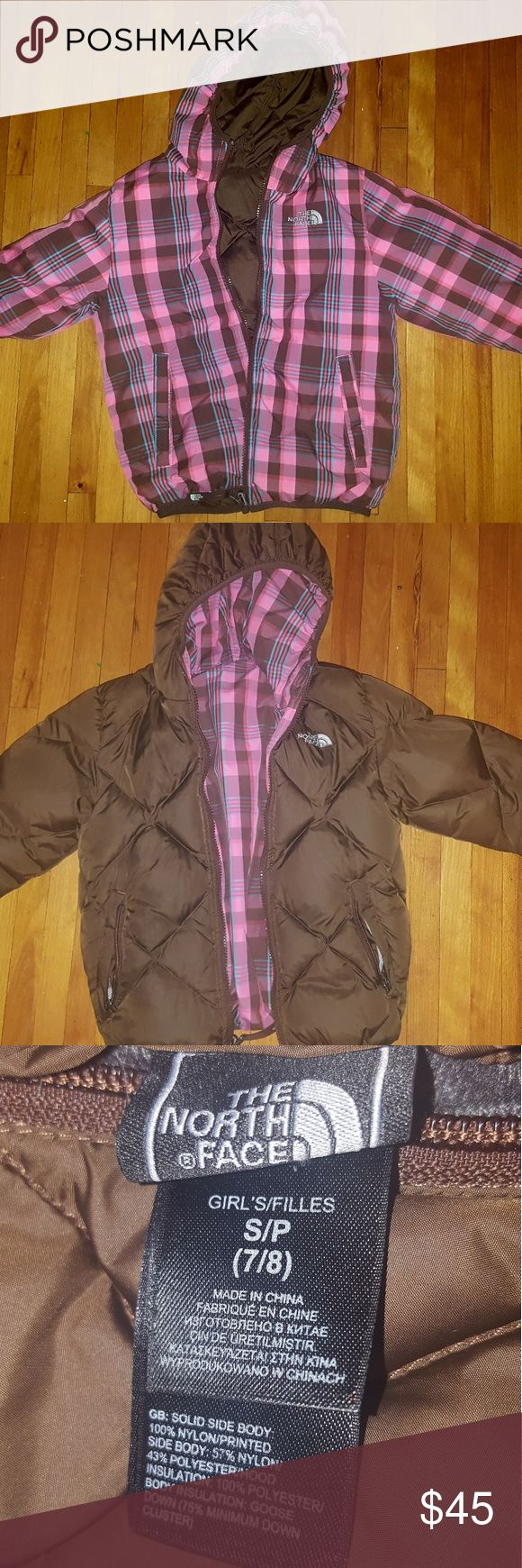 Girls North Face Jacket small 6/7 Reversible Brown Plaid- pink baby blue & brown Small 6/7 $45 OBO The North Face Jackets & Coats Puffers