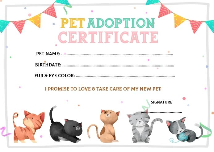Create The Perfect Design By Customizing Easy To Use Templates In Minutes Easily Conve Pet Adoption Birthday Party Pet Adoption Certificate Cat Adoption Party