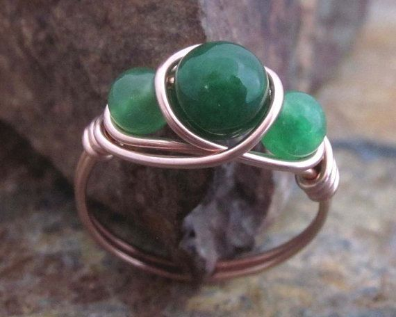 Malaysian Jade Ring - 14K Rose Gold Filled Ring, Natural Stone Jewelry, Green Jade Jewelry, Sister Rings, Best Friend Rings, Mothers Ring on Etsy, €12,79