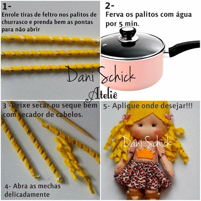 Eu Amo Artesanato: Como fazer cabelinho de feltro cacheado para boneca