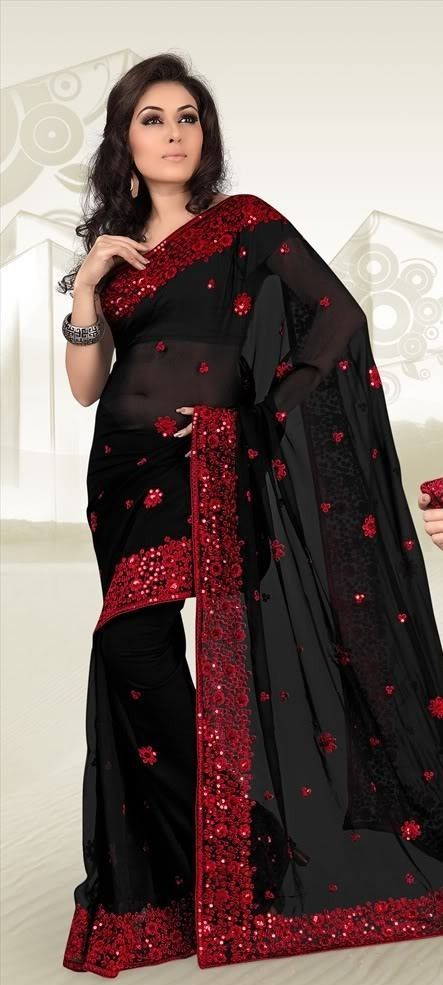CHARMING BLACK DESIGNER BORDER PARTY WEAR SARI INDIAN BOLLYWOOD GEORGETTE SAREE #SareeStudio #SareeSari #PartyWear