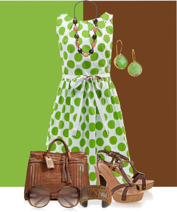"""apple green and brown"" by peridotpixie on Polyvore"