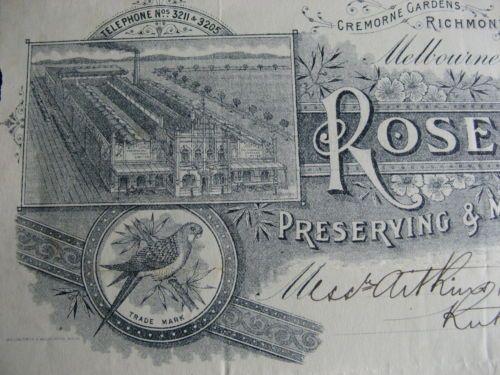 Rosella Preserving Company Cremorne Gardens Richmond 1916 | eBay
