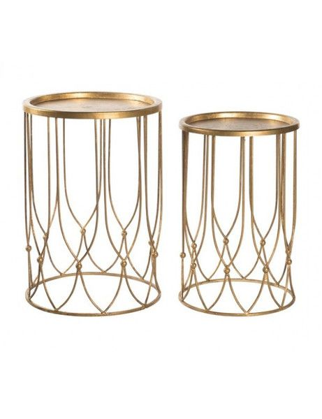 Wish Bone Side Table Set in Gold design by Aidan Gray