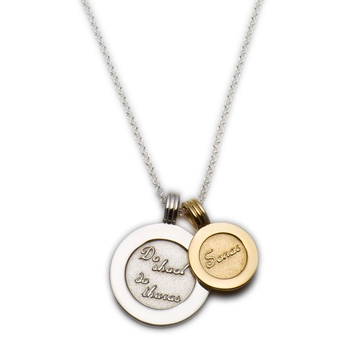 "The larger silver coin is inscribed in Irish with 'Do Shaol, Do Thuras' which translates as 'Your Life, Your Journey', and the small solid gold coin 'Sonas' meaning 'Happiness' .The chain is silver. It carries a sentimental message, a perfect gift to accompany you through life's journey. Sterling Silver, 9ct Gold. Diameter: 20mm 13mm 42-45cm / 16""-18"" length (adjustable)   Available Here: http://www.standun.com/enibas-do-shaol-do-thuras-double-pendant.html"