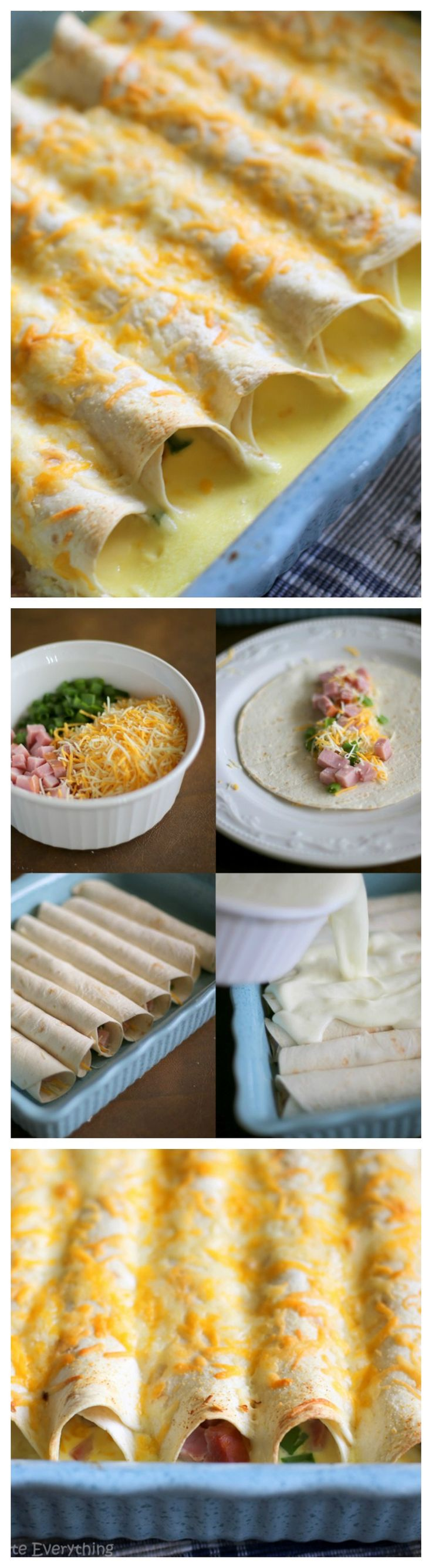 "Breakfast!  --> ""Ham and Cheese Breakfast Enchiladas - prepared the night before and filled with a ham and cheese egg mixture. Great for company! the-girl-who-ate-everything.com"""