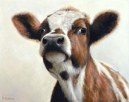 Sold | Dina the Calf, oil/panel 8 x 10 inch (20 x 25 cm) © 2013 Klimas