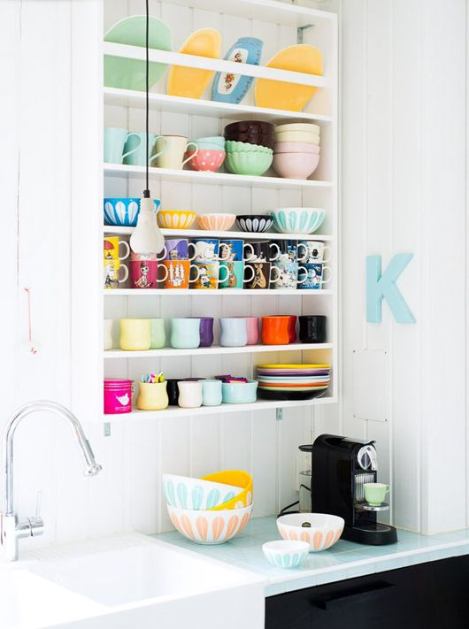 colorful kitchen shelf
