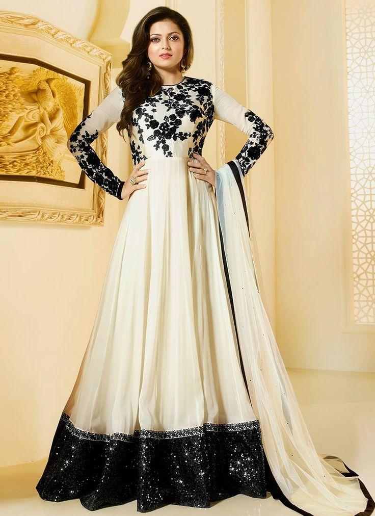 Shop Drashti Dhami Black and white color georgette party wear salwar kameez…