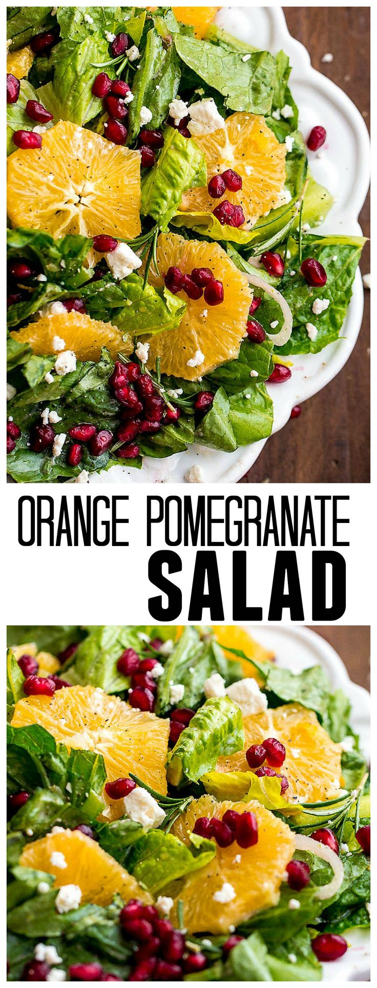 This Orange Pomegranate Salad is incredible with fresh oranges and pomegranates topped with an amazing zesty orange buttermilk dressing!