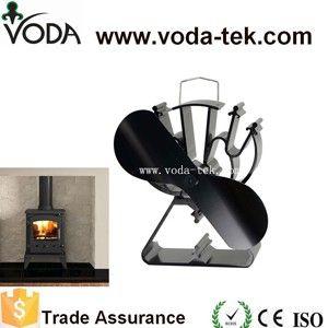 Lames de chaleur alimenté cuisinière ventilateur avec 2 noir + triangle en forme de base pour bois/log brûleur/cheminée-Eco Friendly