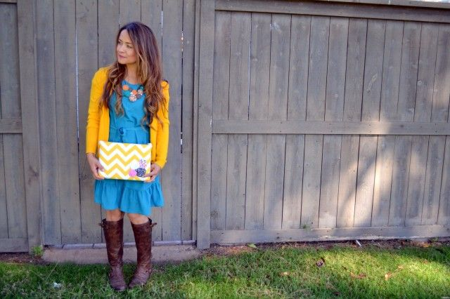 Bright + FallMomma Life, Brown Leather Boots, Blue Dresses, Colors, Cute Necklaces, Yellow Cardigans, Bottom Ruffles, Necklaces Ideas, Hello Mondays