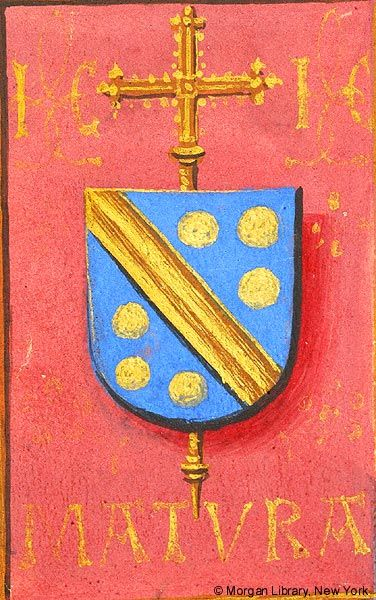 Escutcheon with arms of Jean Carondelet (azure a fasce and six bezants or en orle, an archiepiscopal cross in pale beneath the shield) | Book of Hours | Belgium, Bruges | ca. 1500 | The Morgan Library & Musuem