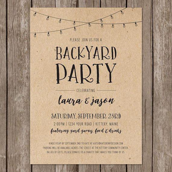 Backyard Party Rustic Invitation. Casual Wedding Party