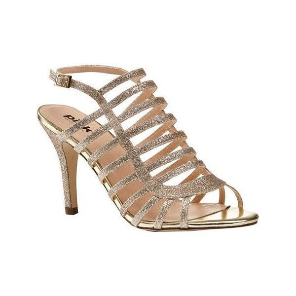Women's Pink Paradox London Skylar Cage Shoe ($75) ❤ liked on Polyvore featuring shoes, sandals, gold, sparkly prom shoes, strappy high heel sandals, bridal shoes, bride shoes and strappy shoes