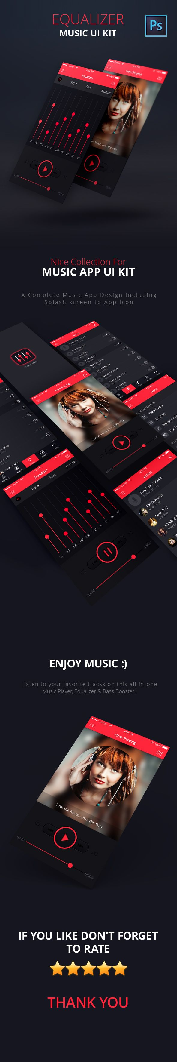 Equalizer – Music App UI Kit PSD is the premium version of the new standard…