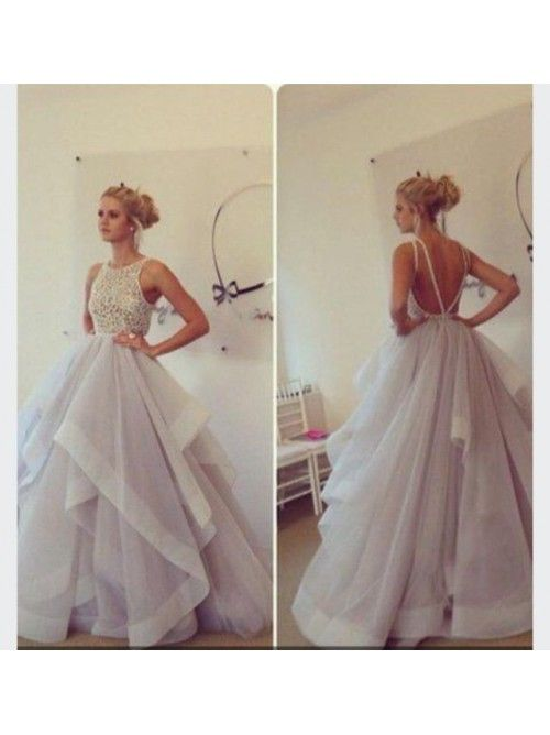 Tulle Sleeveless Ball Gown Prom Dress With Open Back - Prom Dresses - HoneyDress