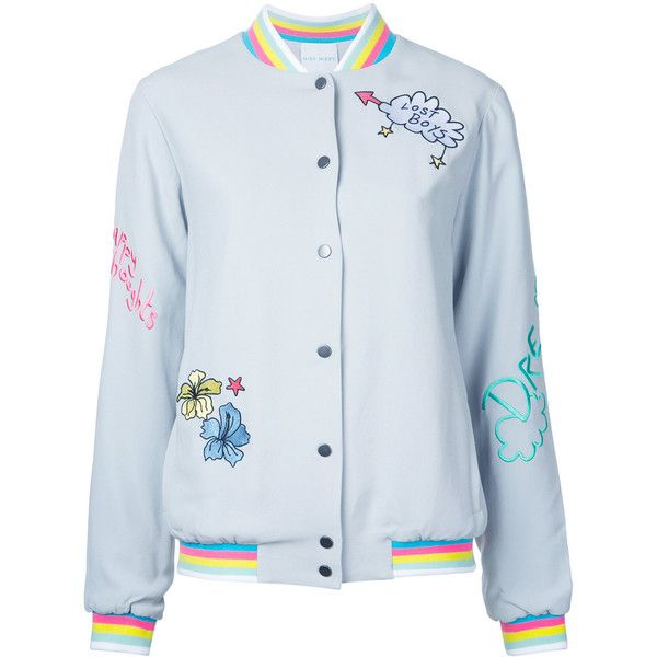 Mira Mikati embroidered bomber jacket (£590) ❤ liked on Polyvore featuring outerwear, jackets, grey, grey bomber jacket, blouson jacket, embroidered jacket, embroidered bomber jackets and gray jacket