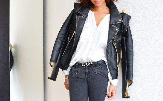 #mercredie #blog #mode #fashion #geneva #suisse #switzerland #blogueuse #bloggeuse #blogger #outfit #inspiration #look #jean #biker #Zara #grey #gris #zip #zippers #maison #martin #margiela #h&m #leather #jacket #mmm #2012 #chemise #white #jennyfer #belt #gold